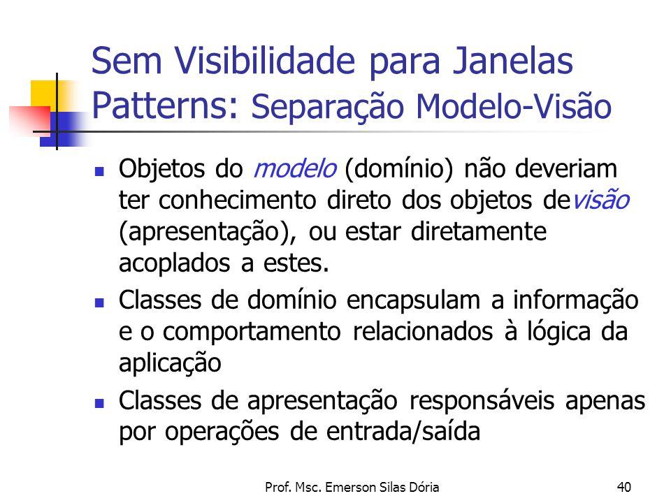 Prof. Msc. Emerson Silas Dória40 Sem Visibilidade para Janelas Patterns: Separação Modelo-Visão Objetos do modelo (domínio) não deveriam ter conhecime