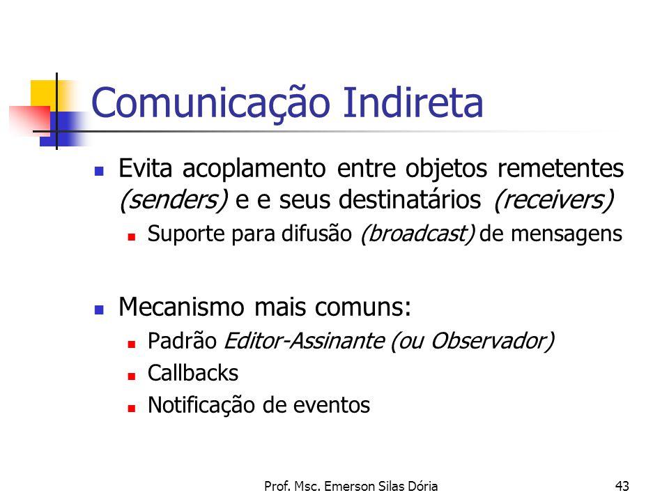 Prof. Msc. Emerson Silas Dória43 Comunicação Indireta Evita acoplamento entre objetos remetentes (senders) e e seus destinatários (receivers) Suporte