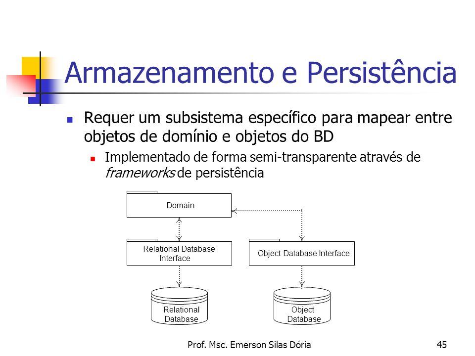 Prof. Msc. Emerson Silas Dória45 Armazenamento e Persistência Requer um subsistema específico para mapear entre objetos de domínio e objetos do BD Imp