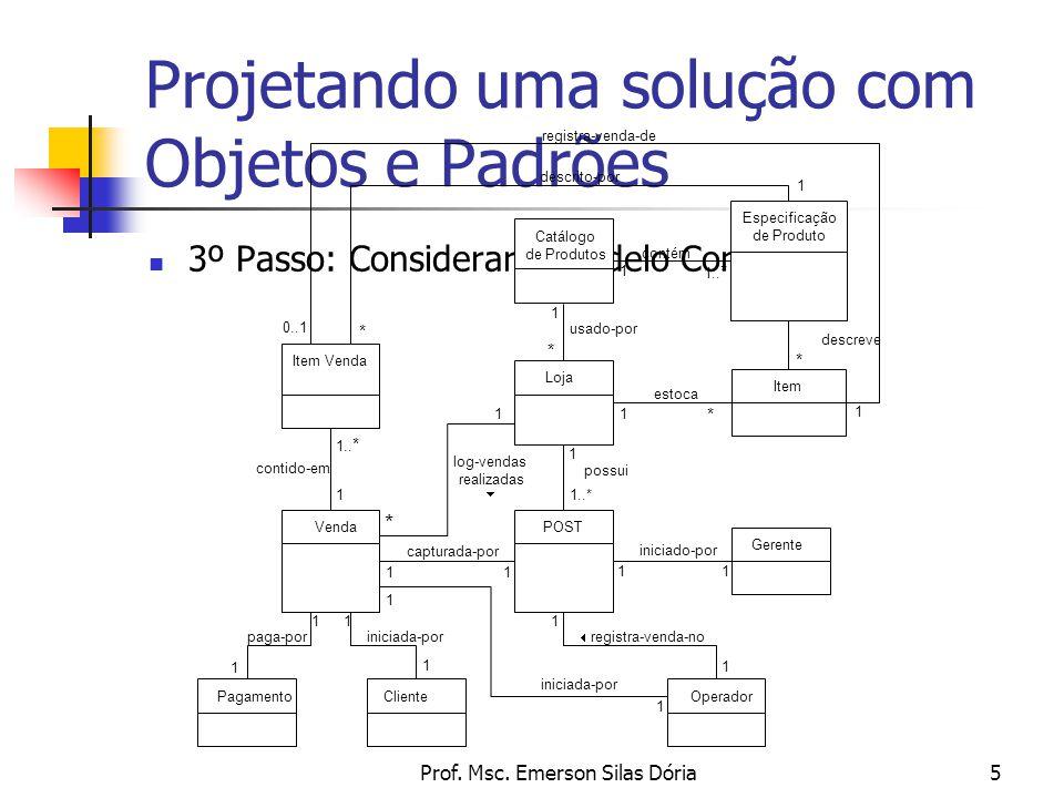 Prof. Msc. Emerson Silas Dória5 Projetando uma solução com Objetos e Padrões 3º Passo: Considerar o Modelo Conceitual POST Item Loja Venda Pagamento I