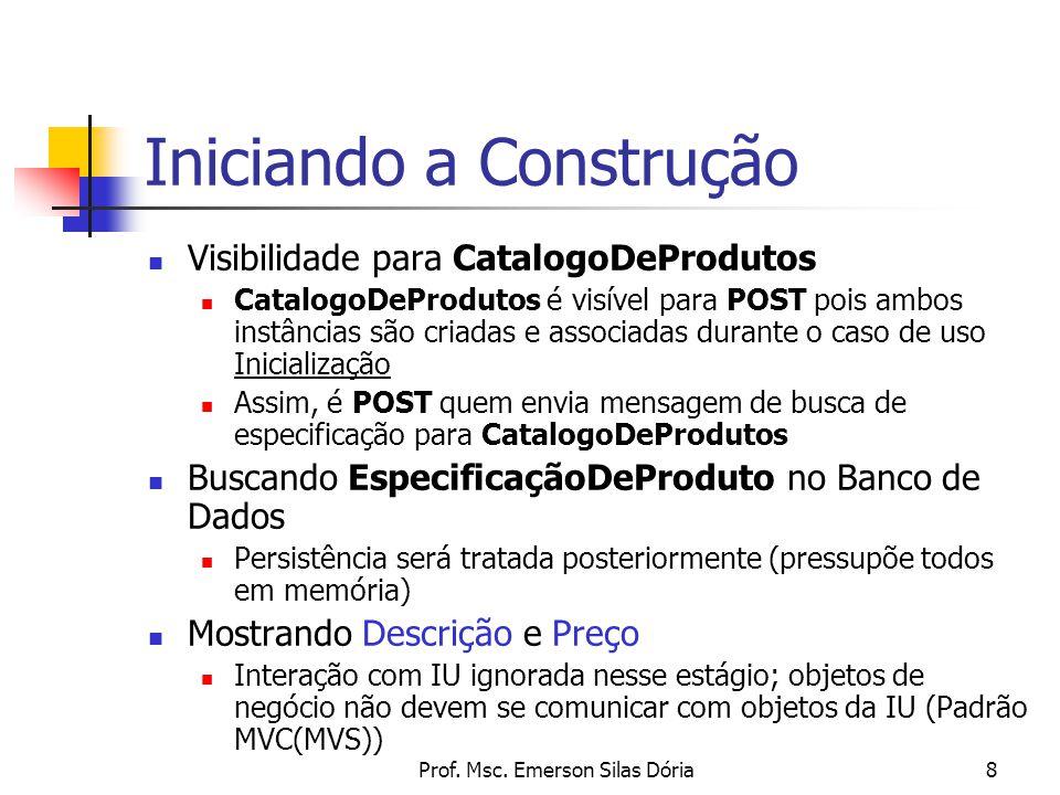 Prof. Msc. Emerson Silas Dória8 Visibilidade para CatalogoDeProdutos CatalogoDeProdutos é visível para POST pois ambos instâncias são criadas e associ