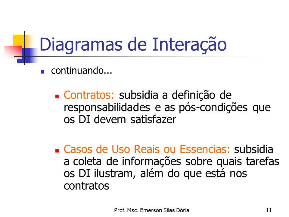 Prof. Msc. Emerson Silas Dória11 Diagramas de Interação continuando... Contratos: subsidia a definição de responsabilidades e as pós-condições que os