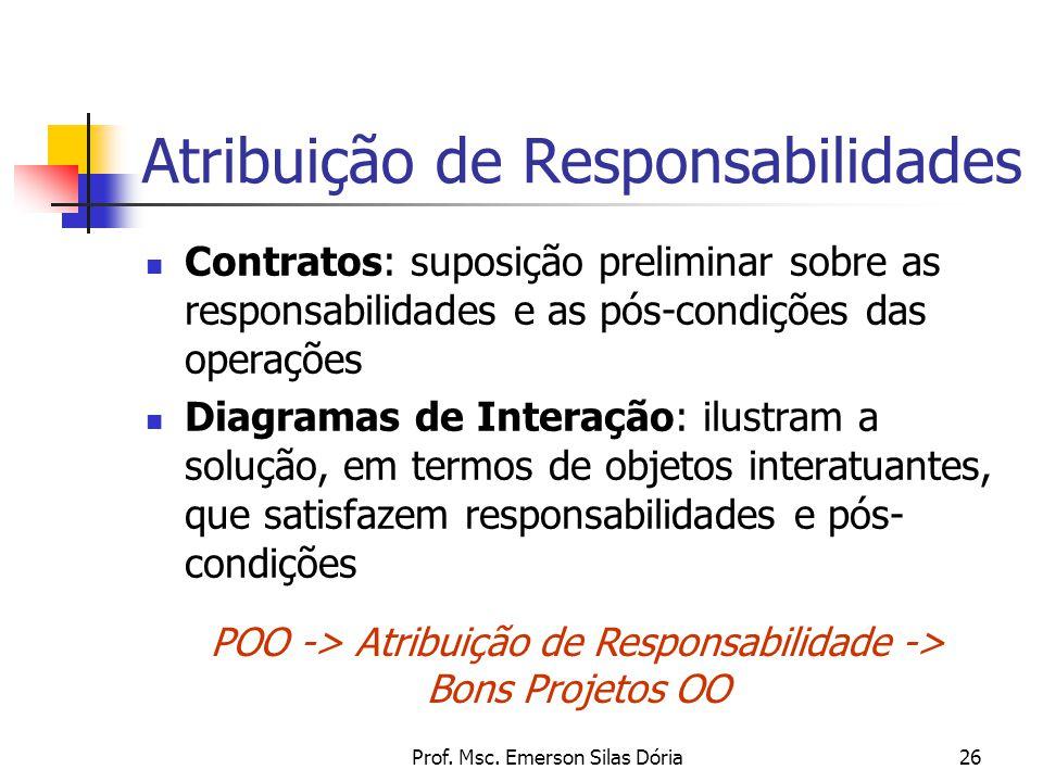 Prof. Msc. Emerson Silas Dória26 Atribuição de Responsabilidades Contratos: suposição preliminar sobre as responsabilidades e as pós-condições das ope