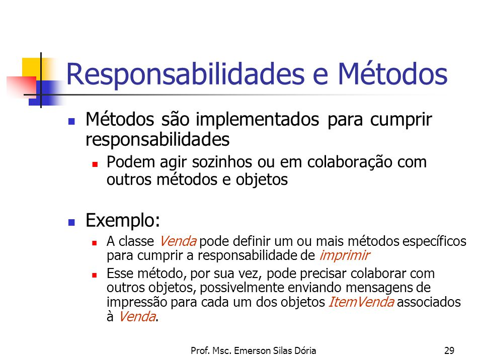 Prof. Msc. Emerson Silas Dória29 Responsabilidades e Métodos Métodos são implementados para cumprir responsabilidades Podem agir sozinhos ou em colabo
