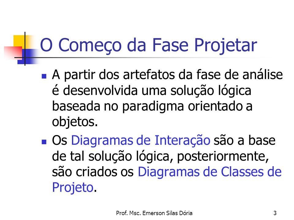 Prof. Msc. Emerson Silas Dória3 A partir dos artefatos da fase de análise é desenvolvida uma solução lógica baseada no paradigma orientado a objetos.