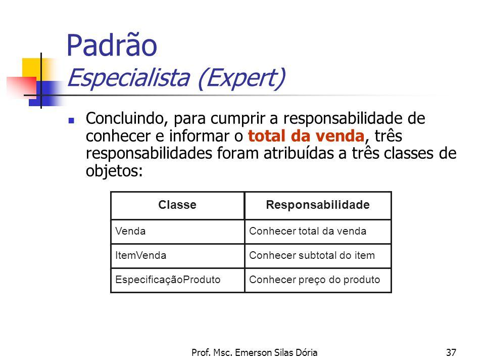 Prof. Msc. Emerson Silas Dória37 Concluindo, para cumprir a responsabilidade de conhecer e informar o total da venda, três responsabilidades foram atr