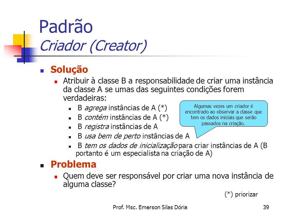 Prof. Msc. Emerson Silas Dória39 Padrão Criador (Creator) Solução Atribuir à classe B a responsabilidade de criar uma instância da classe A se umas da