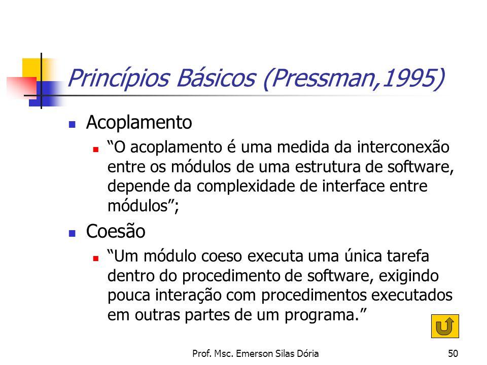 """Prof. Msc. Emerson Silas Dória50 Princípios Básicos (Pressman,1995) Acoplamento """"O acoplamento é uma medida da interconexão entre os módulos de uma es"""
