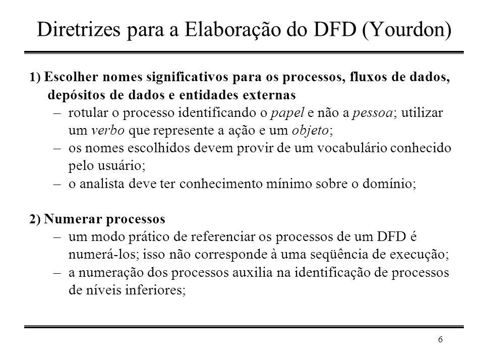 6 Diretrizes para a Elaboração do DFD (Yourdon) 1) Escolher nomes significativos para os processos, fluxos de dados, depósitos de dados e entidades ex