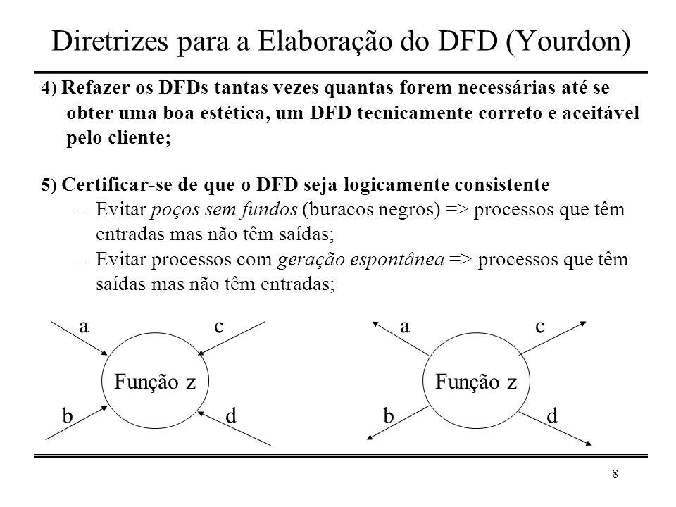 8 Diretrizes para a Elaboração do DFD (Yourdon) 4) Refazer os DFDs tantas vezes quantas forem necessárias até se obter uma boa estética, um DFD tecnic