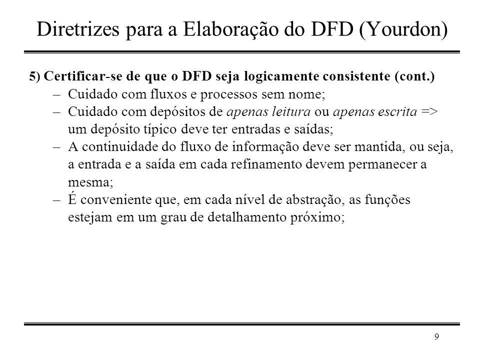 9 Diretrizes para a Elaboração do DFD (Yourdon) 5) Certificar-se de que o DFD seja logicamente consistente (cont.) –Cuidado com fluxos e processos sem