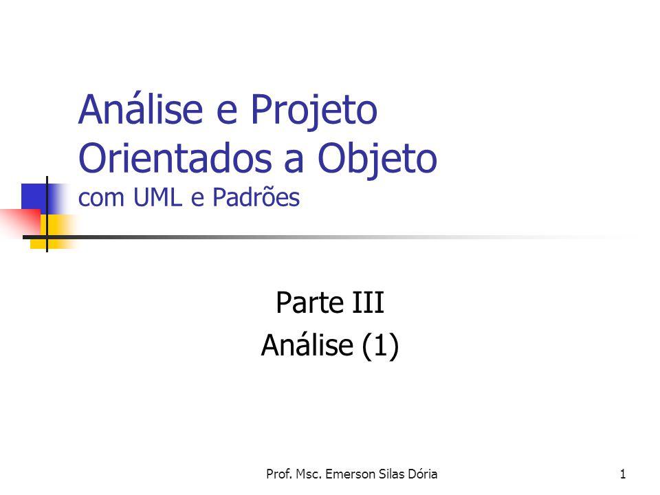 Prof. Msc. Emerson Silas Dória1 Análise e Projeto Orientados a Objeto com UML e Padrões Parte III Análise (1)