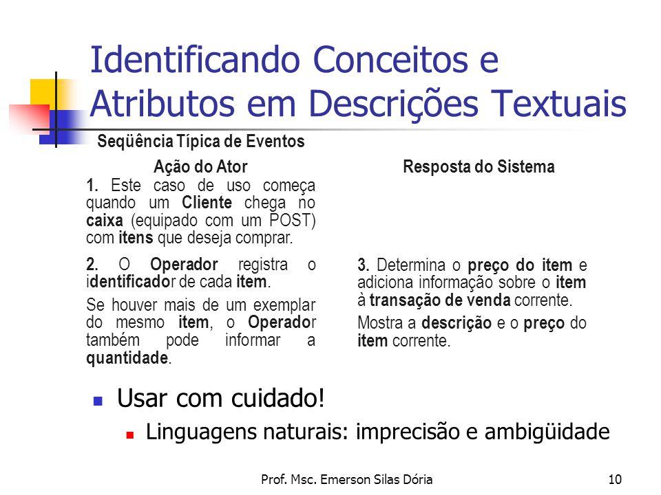 Prof. Msc. Emerson Silas Dória10 Identificando Conceitos e Atributos em Descrições Textuais Seqüência Típica de Eventos Ação do Ator Resposta do Siste