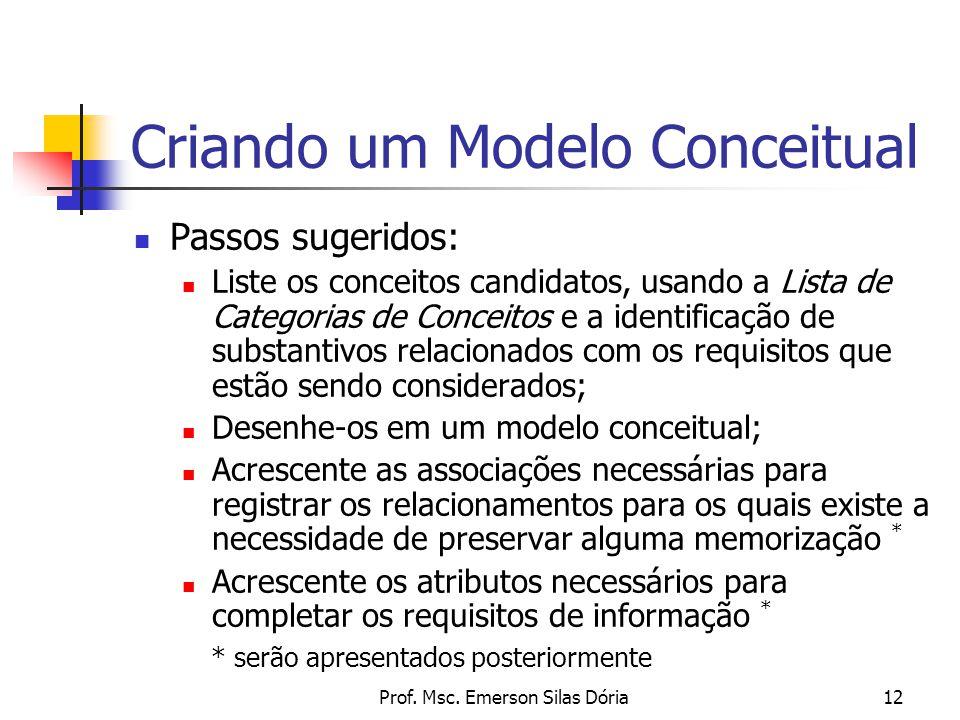 Prof. Msc. Emerson Silas Dória12 Criando um Modelo Conceitual Passos sugeridos: Liste os conceitos candidatos, usando a Lista de Categorias de Conceit