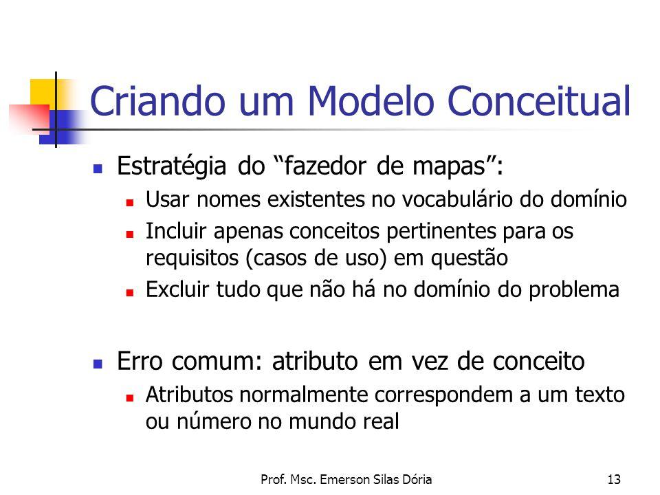 """Prof. Msc. Emerson Silas Dória13 Estratégia do """"fazedor de mapas"""": Usar nomes existentes no vocabulário do domínio Incluir apenas conceitos pertinente"""