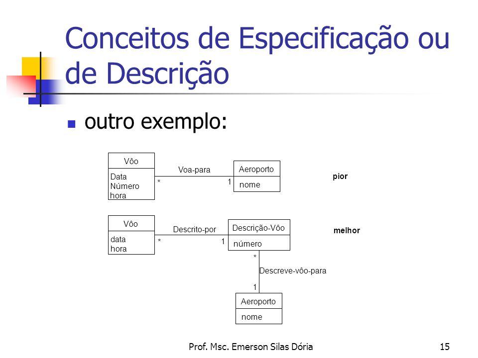 Prof. Msc. Emerson Silas Dória15 outro exemplo: Conceitos de Especificação ou de Descrição pior melhor Vôo Data Número hora Aeroporto nome Voa-para 1