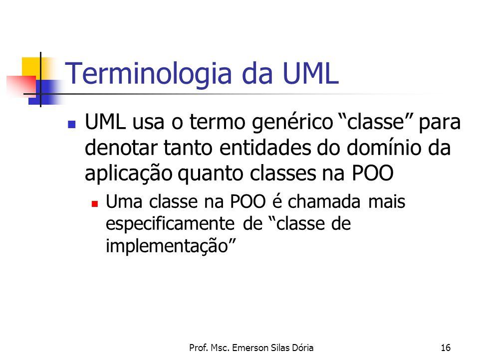 """Prof. Msc. Emerson Silas Dória16 Terminologia da UML UML usa o termo genérico """"classe"""" para denotar tanto entidades do domínio da aplicação quanto cla"""