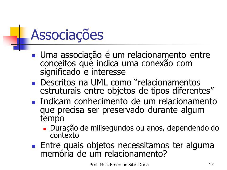 Prof. Msc. Emerson Silas Dória17 Associações Uma associação é um relacionamento entre conceitos que indica uma conexão com significado e interesse Des