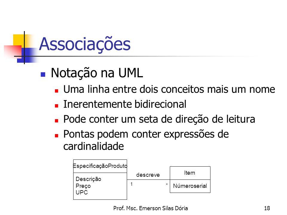 Prof. Msc. Emerson Silas Dória18 Associações Notação na UML Uma linha entre dois conceitos mais um nome Inerentemente bidirecional Pode conter um seta