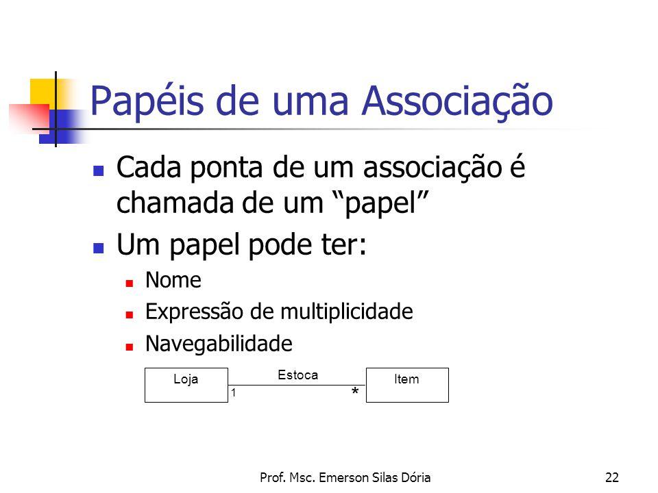 """Prof. Msc. Emerson Silas Dória22 Cada ponta de um associação é chamada de um """"papel"""" Um papel pode ter: Nome Expressão de multiplicidade Navegabilidad"""