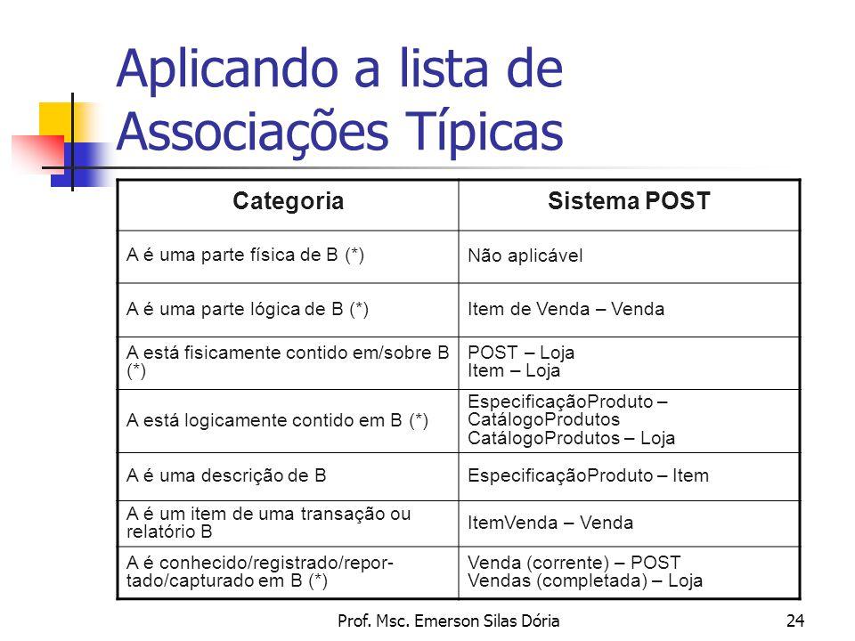 Prof. Msc. Emerson Silas Dória24 Aplicando a lista de Associações Típicas CategoriaSistema POST A é uma parte física de B (*) Não aplicável A é uma pa