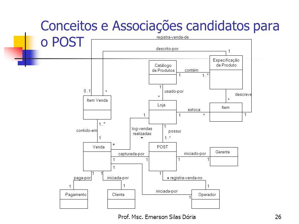 Prof. Msc. Emerson Silas Dória26 Conceitos e Associações candidatos para o POST POST Item Loja Venda Pagamento Item Venda OperadorCliente Gerente Catá