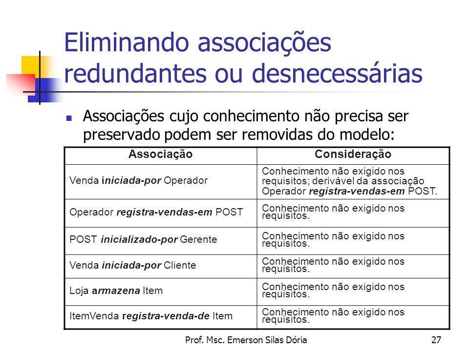 Prof. Msc. Emerson Silas Dória27 Eliminando associações redundantes ou desnecessárias Associações cujo conhecimento não precisa ser preservado podem s