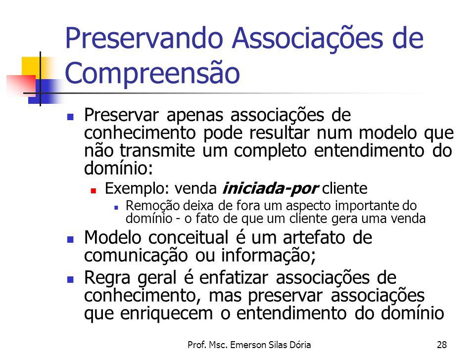 Prof. Msc. Emerson Silas Dória28 Preservando Associações de Compreensão Preservar apenas associações de conhecimento pode resultar num modelo que não