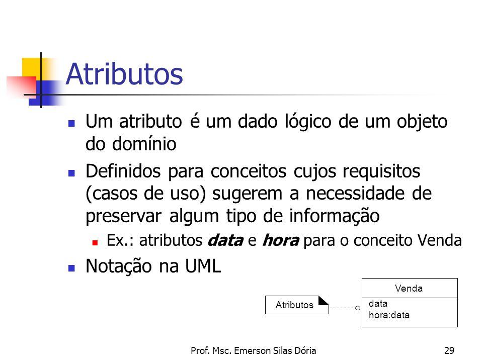 Prof. Msc. Emerson Silas Dória29 Atributos Um atributo é um dado lógico de um objeto do domínio Definidos para conceitos cujos requisitos (casos de us