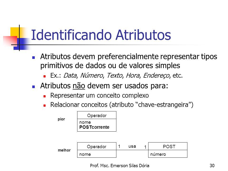Prof. Msc. Emerson Silas Dória30 Identificando Atributos Atributos devem preferencialmente representar tipos primitivos de dados ou de valores simples