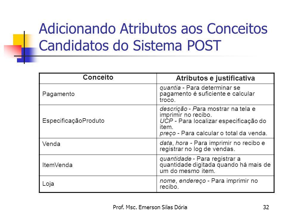 Prof. Msc. Emerson Silas Dória32 Adicionando Atributos aos Conceitos Candidatos do Sistema POST Conceito Atributos e justificativa Pagamento quantia -