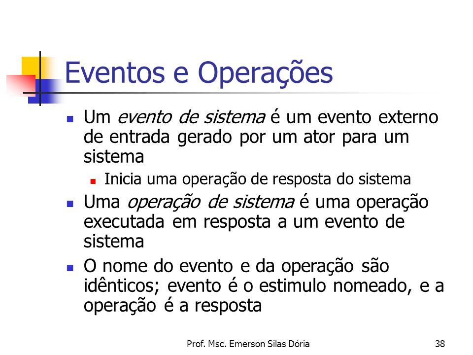 Prof. Msc. Emerson Silas Dória38 Eventos e Operações Um evento de sistema é um evento externo de entrada gerado por um ator para um sistema Inicia uma