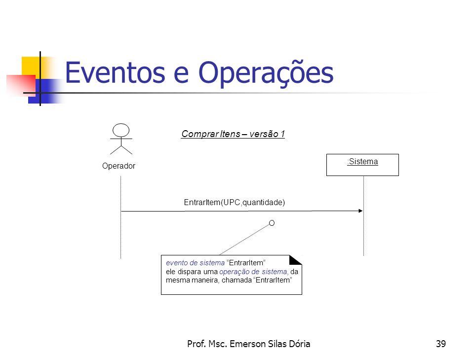 """Prof. Msc. Emerson Silas Dória39 Eventos e Operações EntrarItem(UPC,quantidade) :Sistema Operador Comprar Itens – versão 1 evento de sistema """"EntrarIt"""