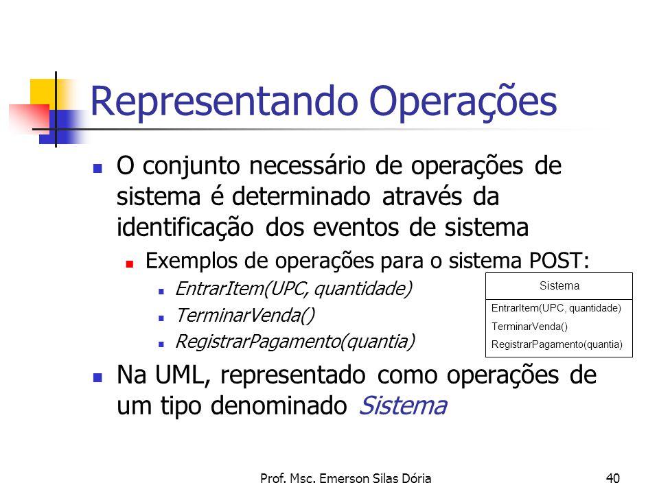 Prof. Msc. Emerson Silas Dória40 O conjunto necessário de operações de sistema é determinado através da identificação dos eventos de sistema Exemplos