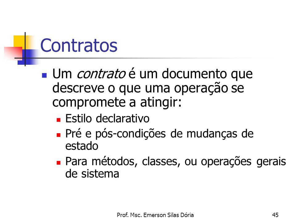 Prof. Msc. Emerson Silas Dória45 Contratos Um contrato é um documento que descreve o que uma operação se compromete a atingir: Estilo declarativo Pré