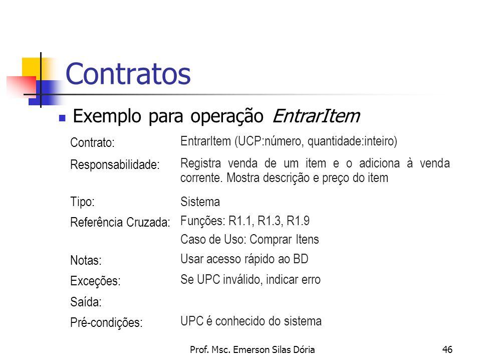 Prof. Msc. Emerson Silas Dória46 Contratos Exemplo para operação EntrarItem Contrato: EntrarItem (UCP:número, quantidade:inteiro) Responsabilidade: Re