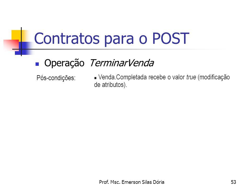 Prof. Msc. Emerson Silas Dória53 Contratos para o POST Operação TerminarVenda Pós-condições: n Venda.Completada recebe o valor true (modificação de at