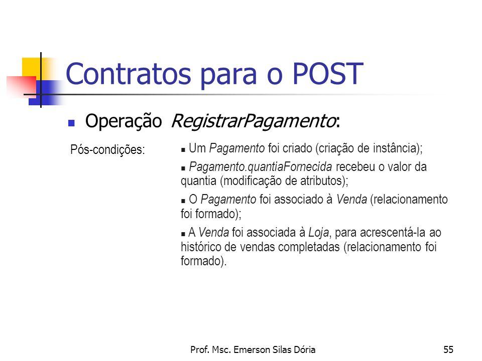 Prof. Msc. Emerson Silas Dória55 Contratos para o POST Operação RegistrarPagamento: Pós-condições: n Um Pagamento foi criado (criação de instância); n