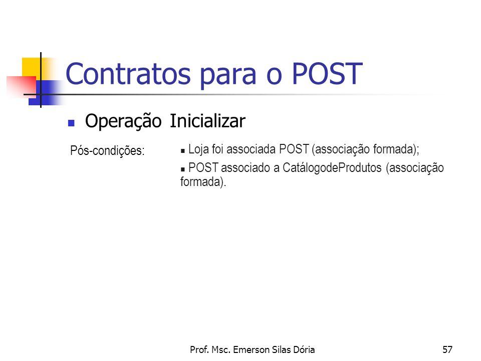 Prof. Msc. Emerson Silas Dória57 Contratos para o POST Operação Inicializar Pós-condições: n Loja foi associada POST (associação formada); n POST asso