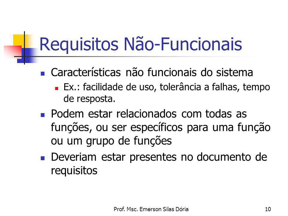 Prof. Msc. Emerson Silas Dória10 Requisitos Não-Funcionais Características não funcionais do sistema Ex.: facilidade de uso, tolerância a falhas, temp