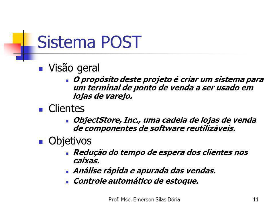 Prof. Msc. Emerson Silas Dória11 Sistema POST Visão geral O propósito deste projeto é criar um sistema para um terminal de ponto de venda a ser usado