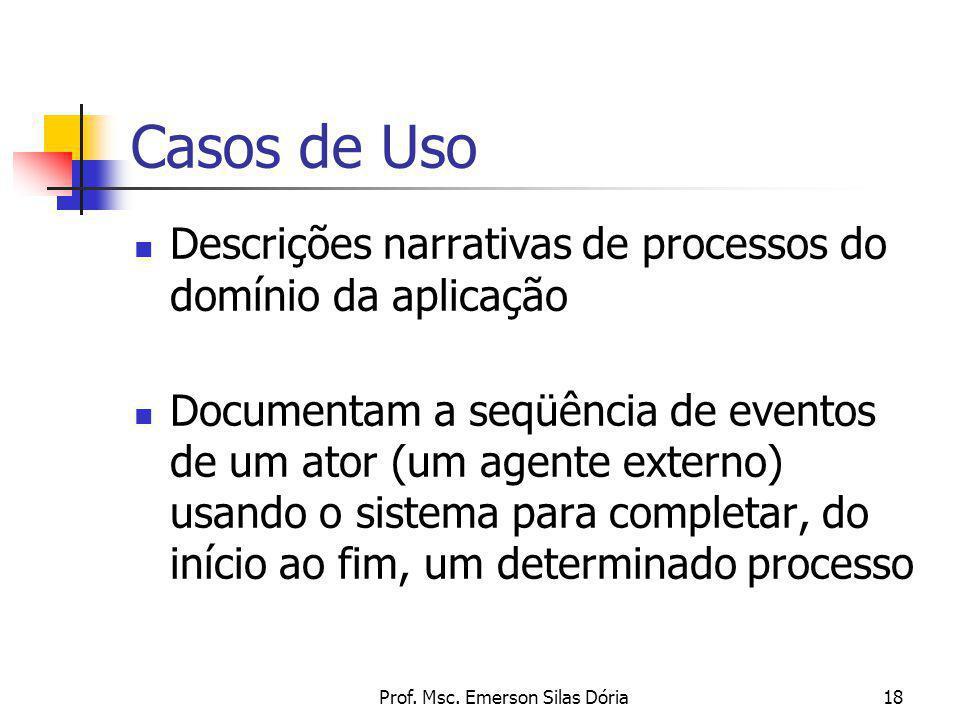 Prof. Msc. Emerson Silas Dória18 Casos de Uso Descrições narrativas de processos do domínio da aplicação Documentam a seqüência de eventos de um ator
