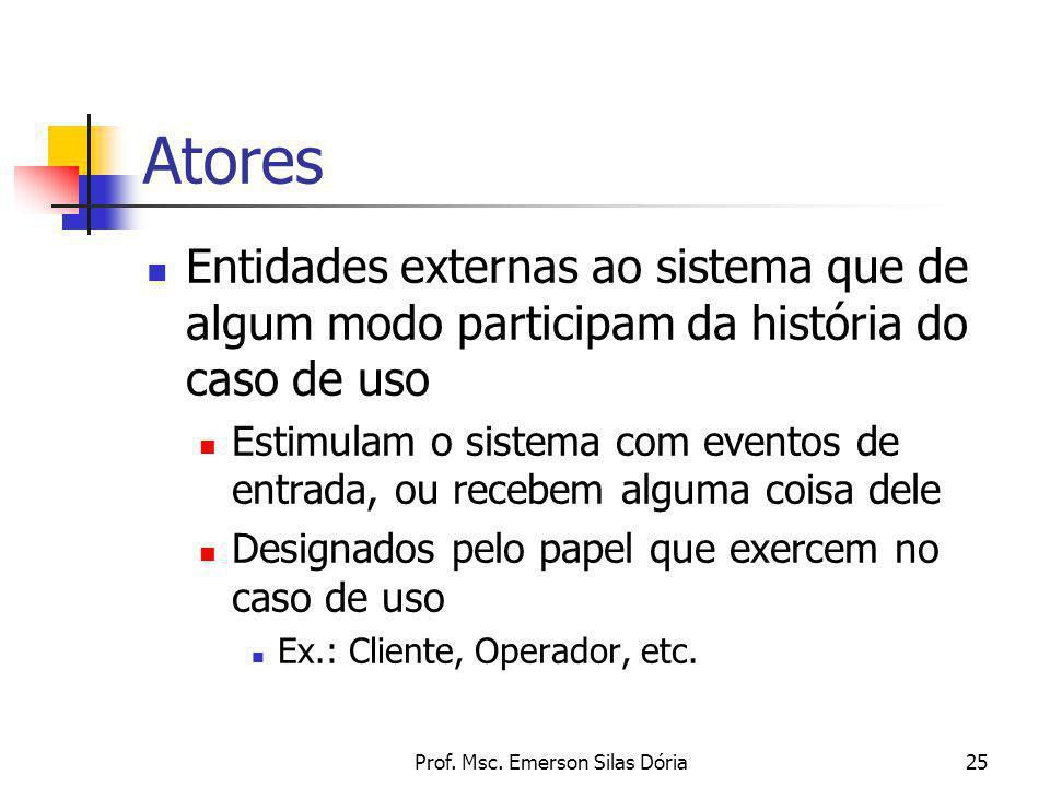 Prof. Msc. Emerson Silas Dória25 Atores Entidades externas ao sistema que de algum modo participam da história do caso de uso Estimulam o sistema com