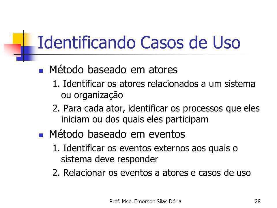 Prof. Msc. Emerson Silas Dória28 Identificando Casos de Uso Método baseado em atores 1. Identificar os atores relacionados a um sistema ou organização