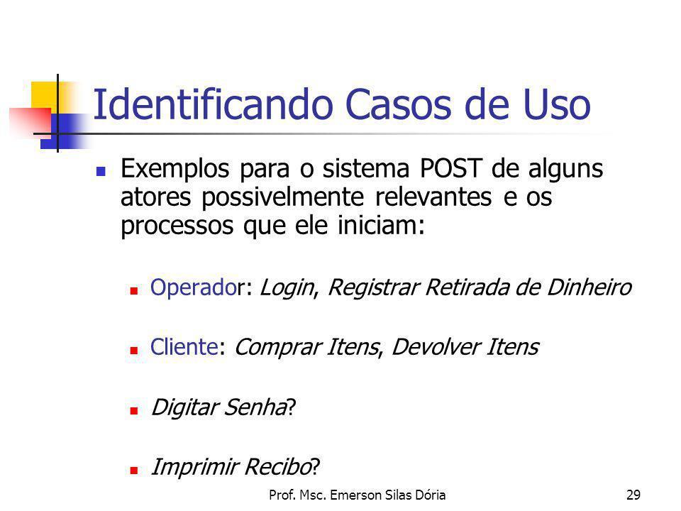 Prof. Msc. Emerson Silas Dória29 Identificando Casos de Uso Exemplos para o sistema POST de alguns atores possivelmente relevantes e os processos que