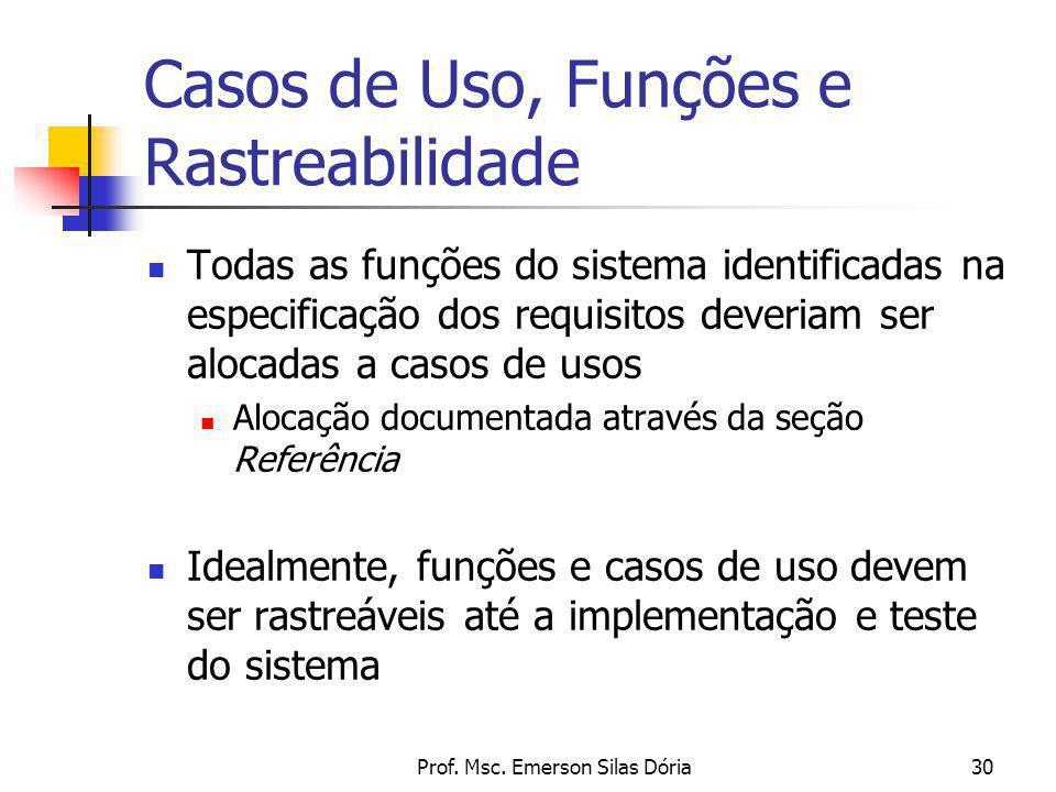 Prof. Msc. Emerson Silas Dória30 Casos de Uso, Funções e Rastreabilidade Todas as funções do sistema identificadas na especificação dos requisitos dev