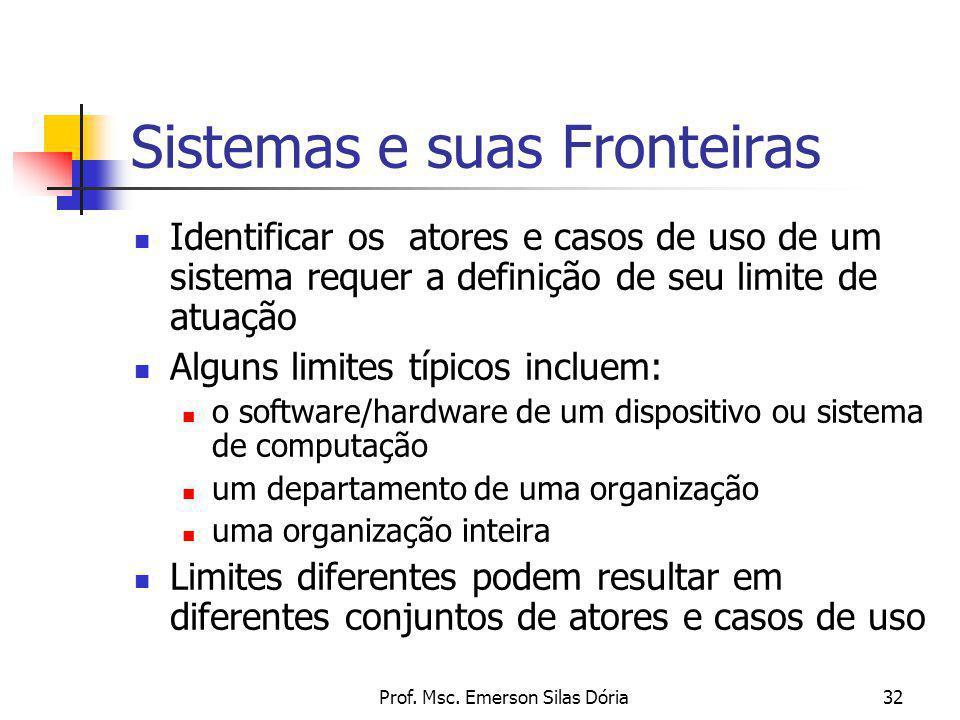 Prof. Msc. Emerson Silas Dória32 Sistemas e suas Fronteiras Identificar os atores e casos de uso de um sistema requer a definição de seu limite de atu