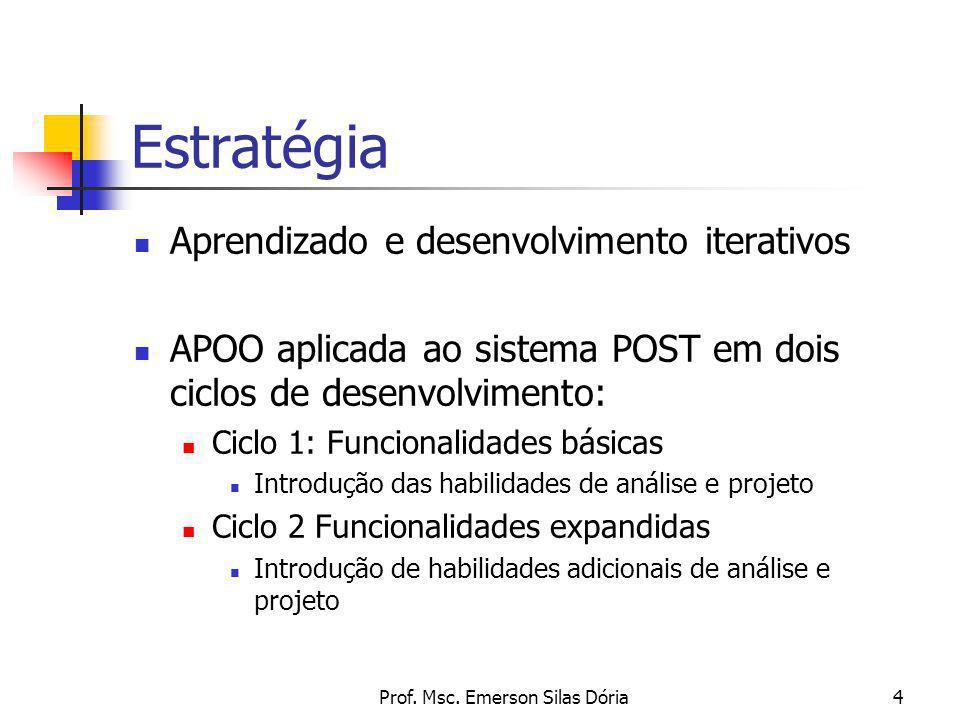 Prof. Msc. Emerson Silas Dória4 Estratégia Aprendizado e desenvolvimento iterativos APOO aplicada ao sistema POST em dois ciclos de desenvolvimento: C