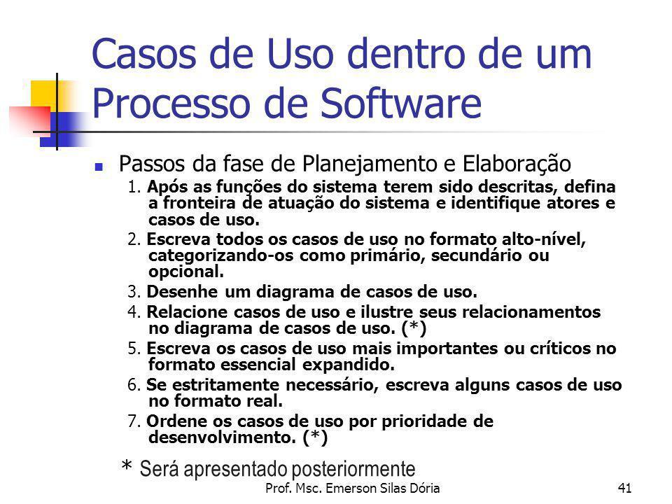 Prof. Msc. Emerson Silas Dória41 Casos de Uso dentro de um Processo de Software Passos da fase de Planejamento e Elaboração 1. Após as funções do sist
