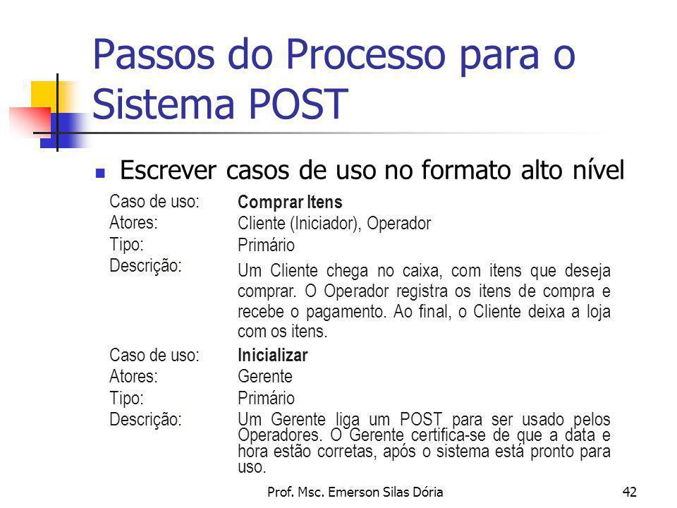 Prof. Msc. Emerson Silas Dória42 Passos do Processo para o Sistema POST Escrever casos de uso no formato alto nível Caso de uso: Atores: Tipo: Descriç